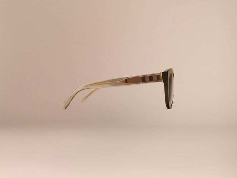 Black Check Detail Oval Sunglasses - cell image 4