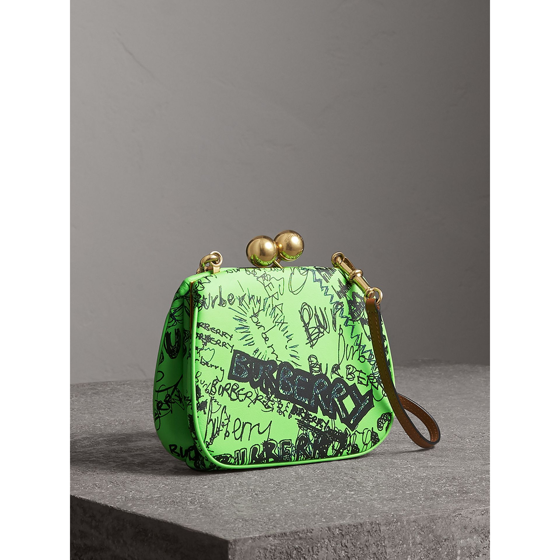 Small Doodle Print Leather Metal Frame Clutch Bag in Neon Green - Women | Burberry - gallery image 5