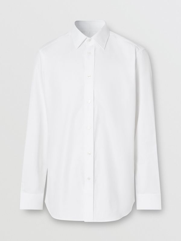 Classic Fit Monogram Motif Cotton Oxford Shirt in White - Men | Burberry Singapore - cell image 3