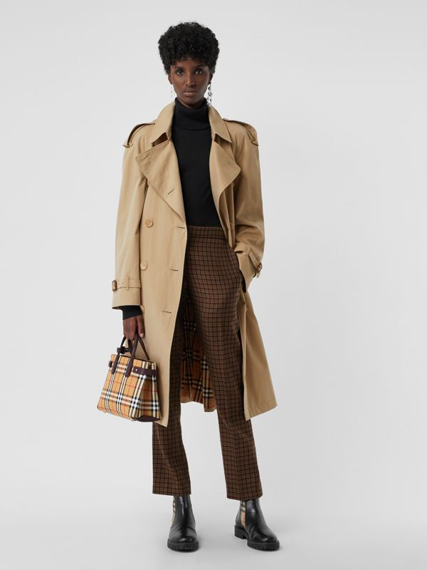 The Small Banner in Vintage Check and Leather in Deep Claret - Women | Burberry - cell image 2