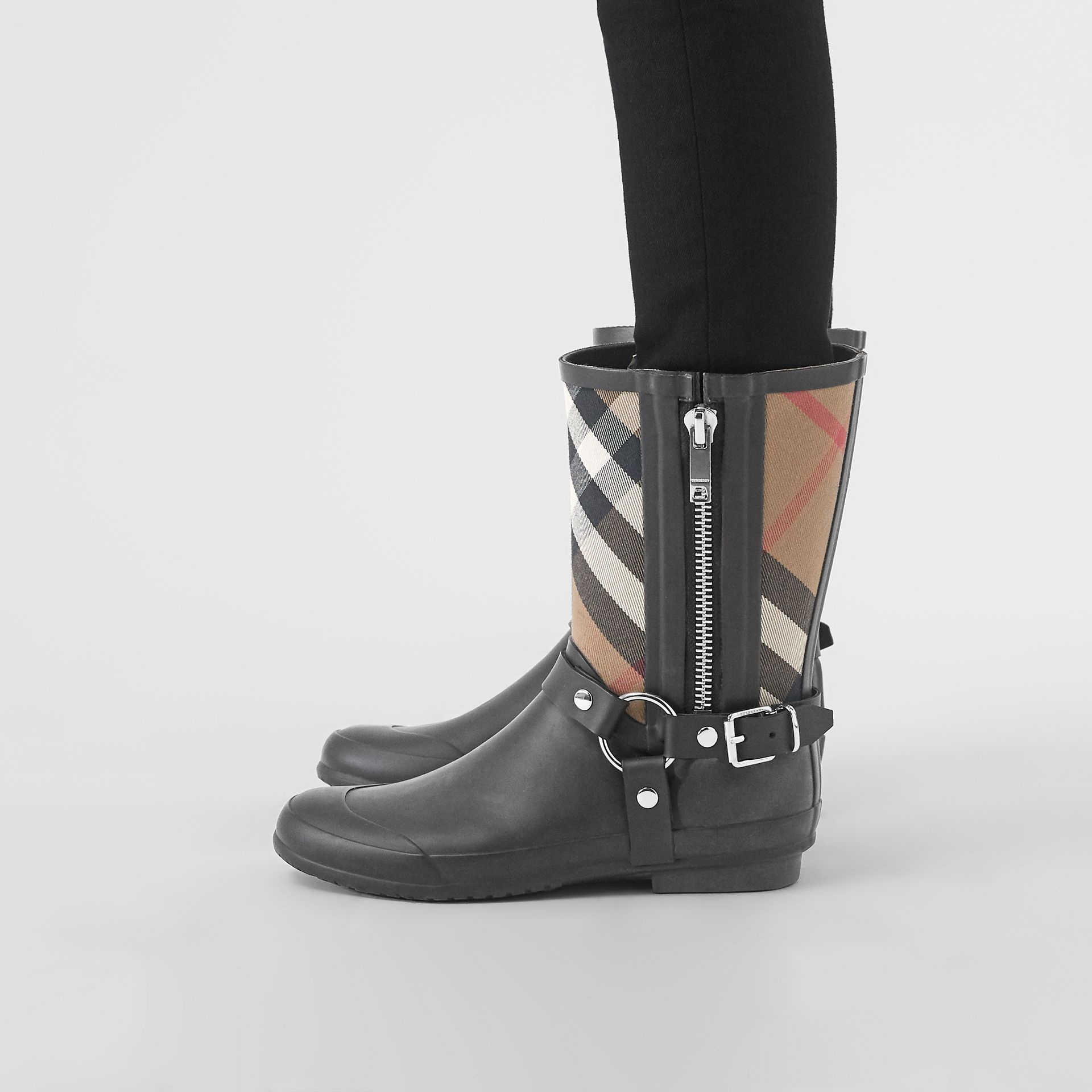 Buckle and Strap Detail Check Rain Boots in House Check/black - Women | Burberry Australia - gallery image 2