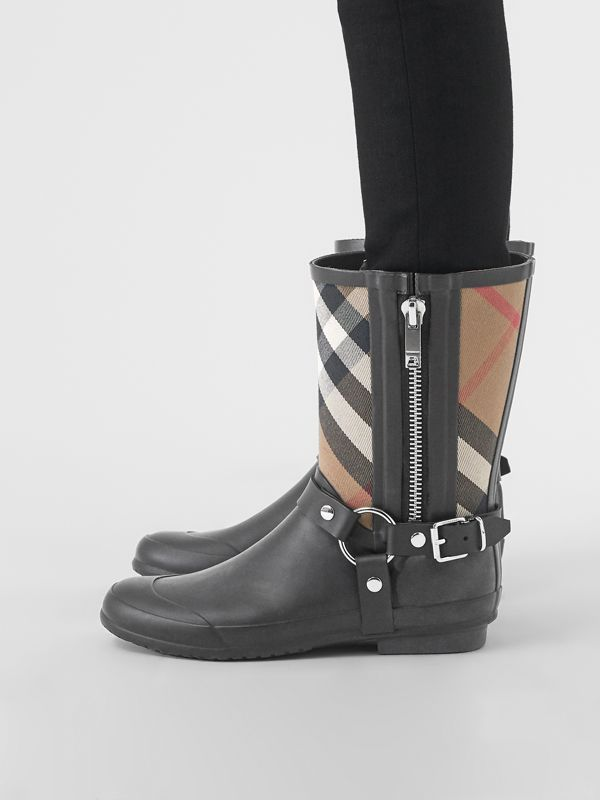 Buckle and Strap Detail Check Rain Boots in House Check/black - Women | Burberry Australia - cell image 2