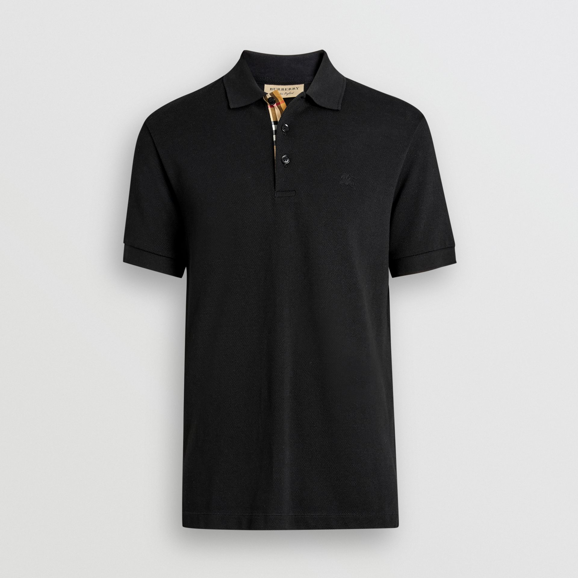 Check Placket Cotton Polo Shirt in Black - Men | Burberry - gallery image 3