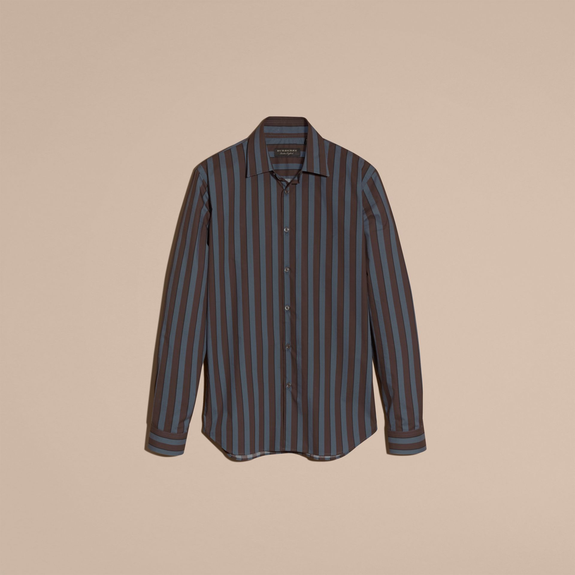 Navy Slim Fit Pyjama Stripe Cotton Poplin Shirt - gallery image 4