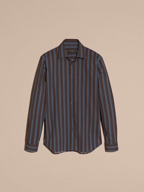 Navy Slim Fit Pyjama Stripe Cotton Poplin Shirt - cell image 3