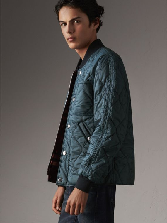 Quilted Bomber Jacket in Petrol Blue - Men | Burberry Canada