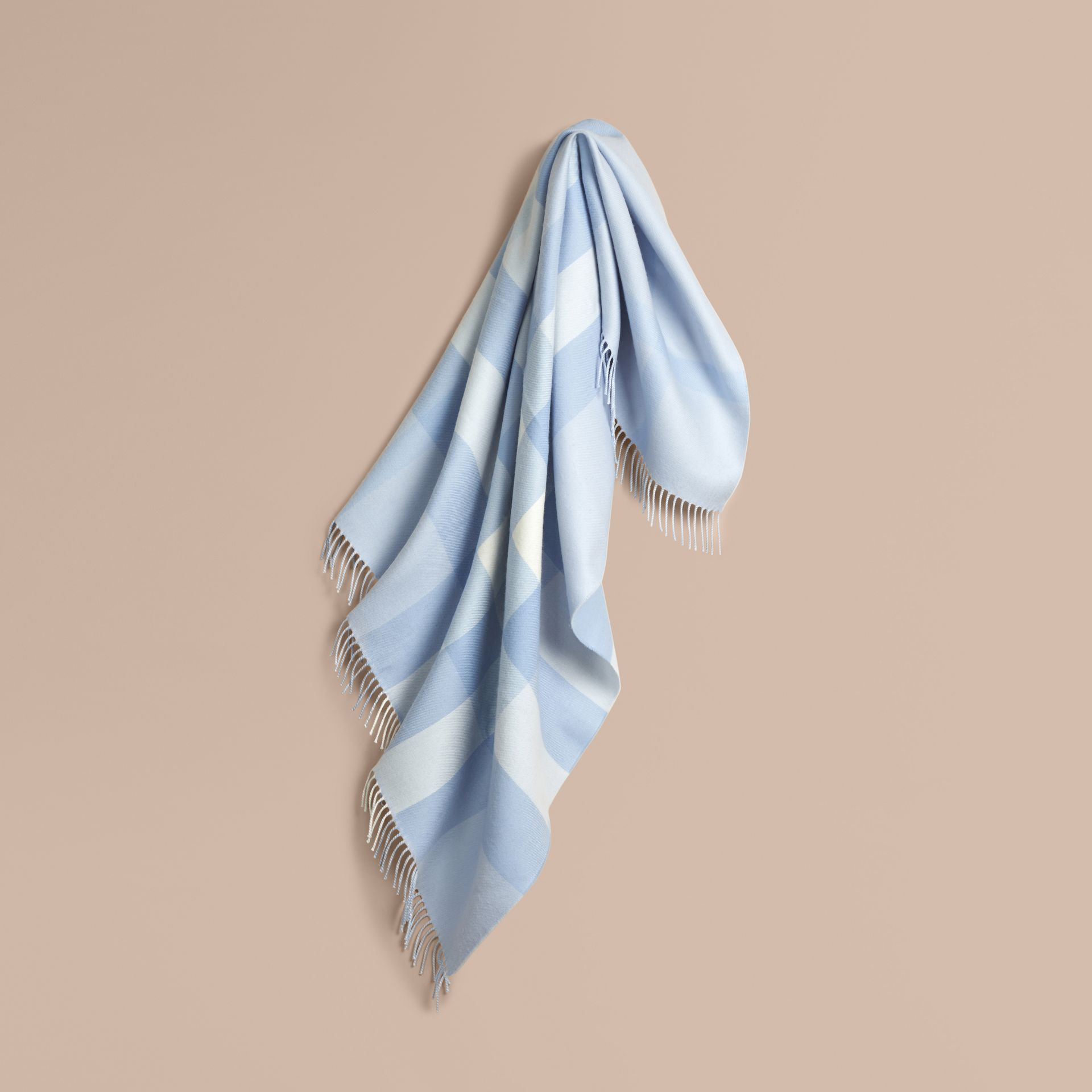 Check Merino Wool Baby Blanket Ice Blue - gallery image 1