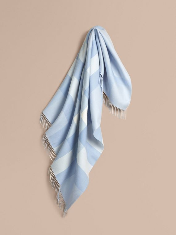 Check Merino Wool Baby Blanket Ice Blue