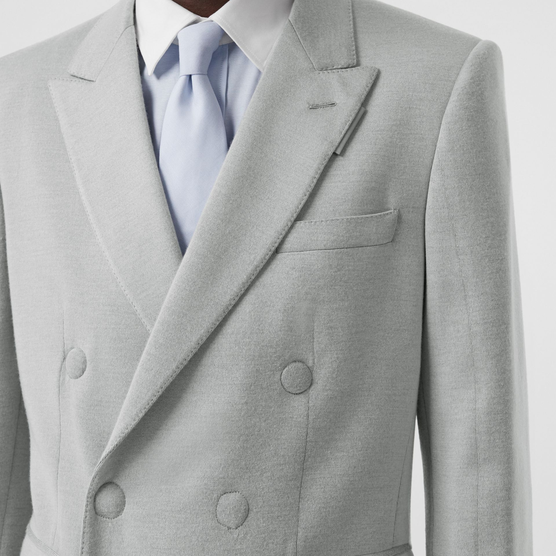 English Fit Cashmere Silk Jersey Double-breasted Jacket in Light Pebble Grey | Burberry - gallery image 5