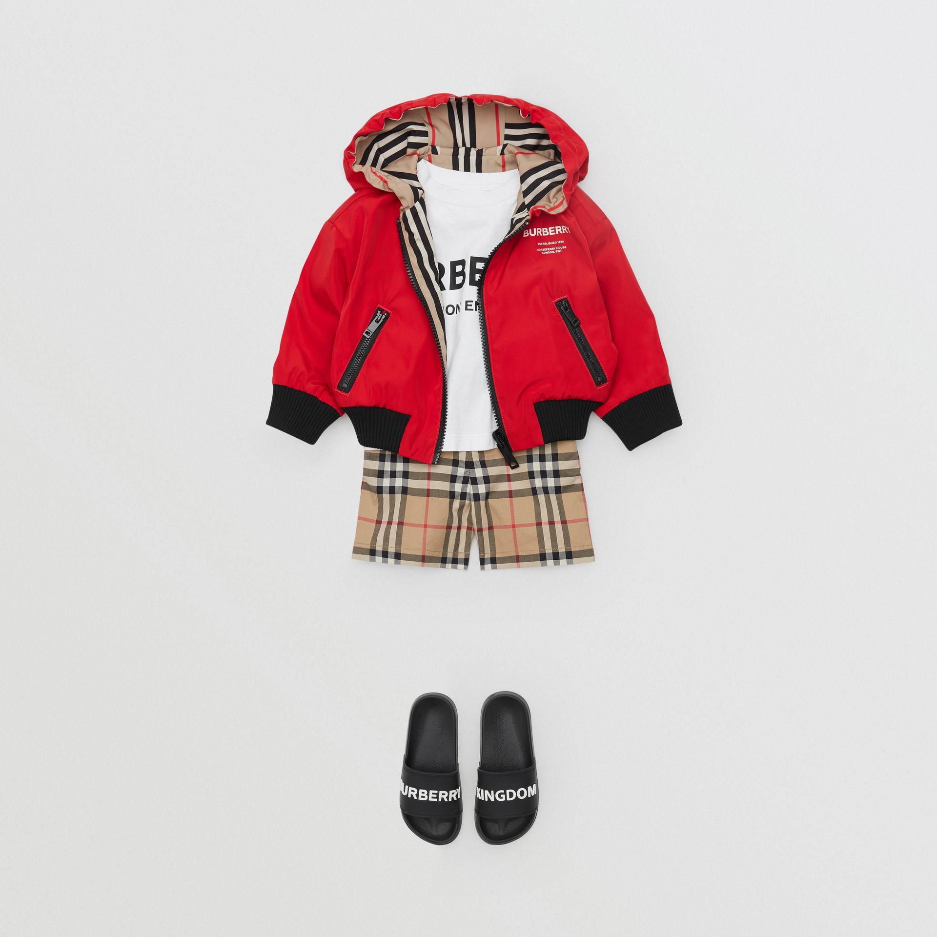 Reversible Icon Stripe Lightweight Hooded Jacket in Bright Red - Children | Burberry - gallery image 2