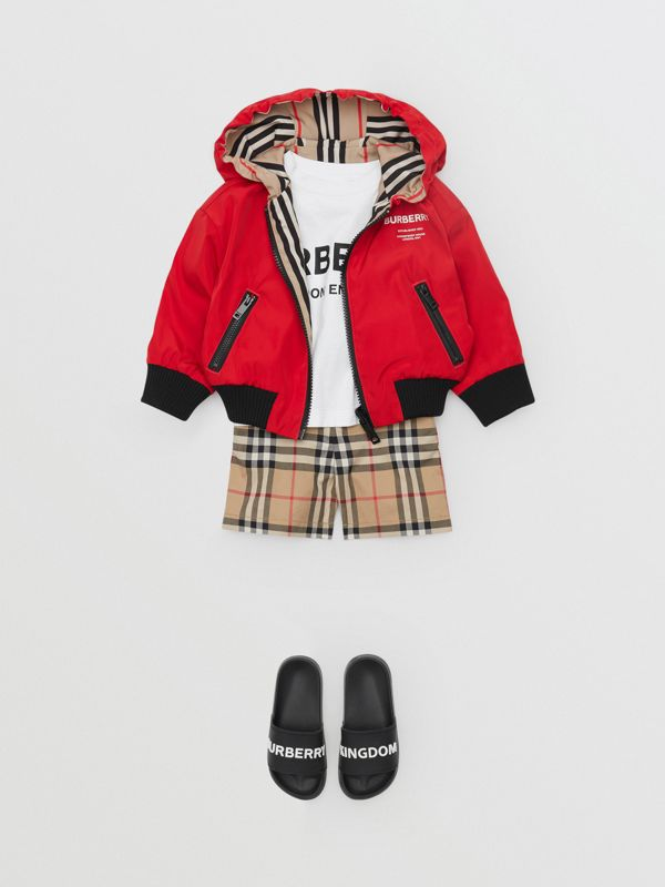 Reversible Icon Stripe Lightweight Hooded Jacket in Bright Red - Children | Burberry - cell image 2