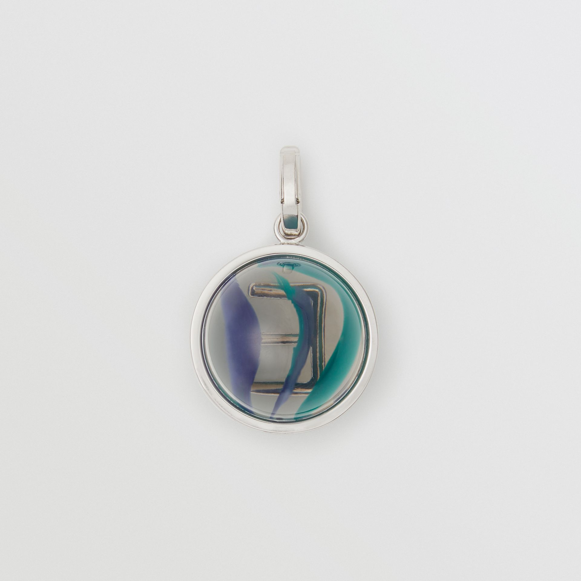 Marbled Resin 'E' Alphabet Charm in Palladio/ocean Blue - Women | Burberry - gallery image 3