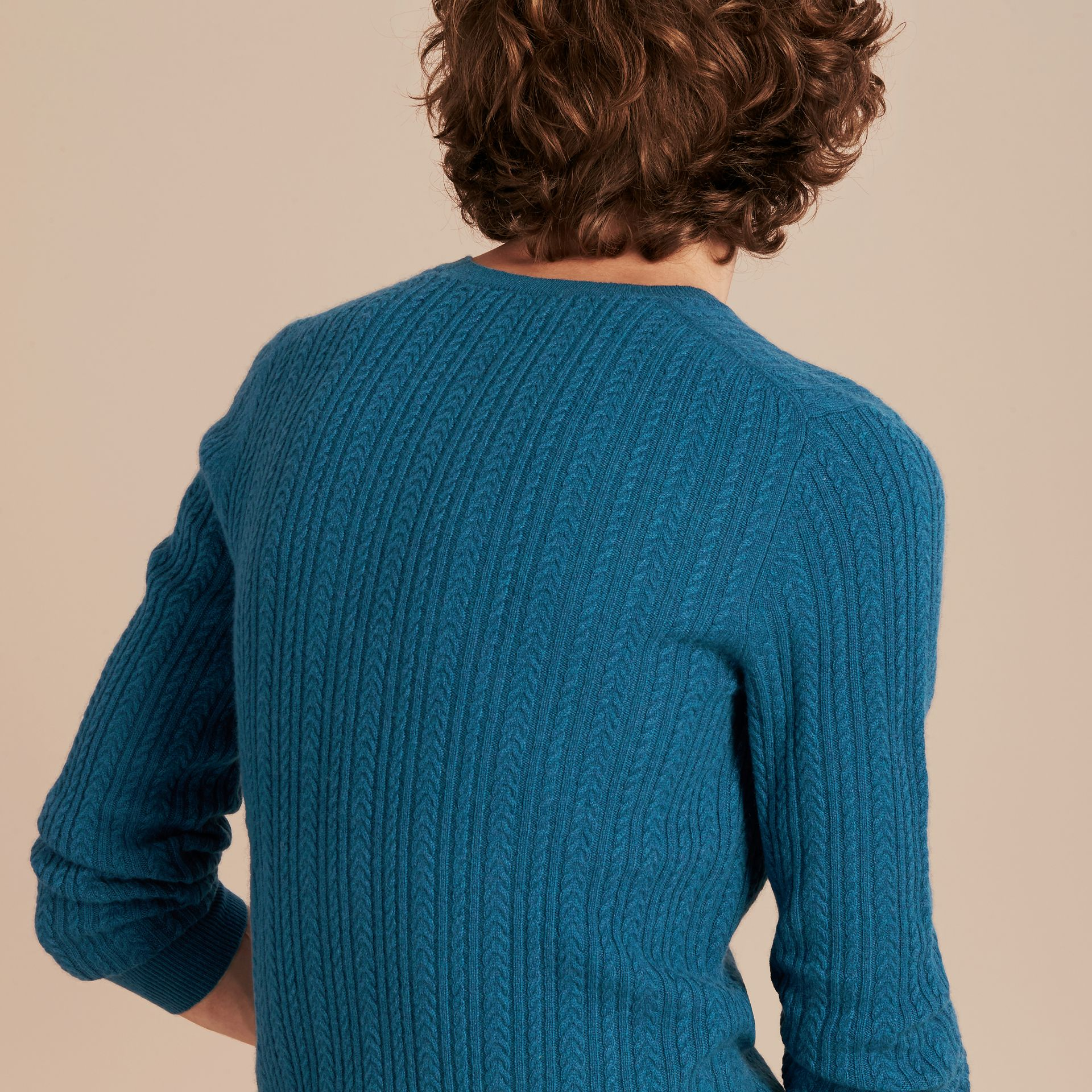 Cyan blue Aran Knit Cashmere Sweater Cyan Blue - gallery image 3