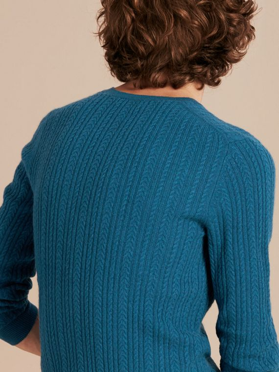 Cyan blue Aran Knit Cashmere Sweater Cyan Blue - cell image 2