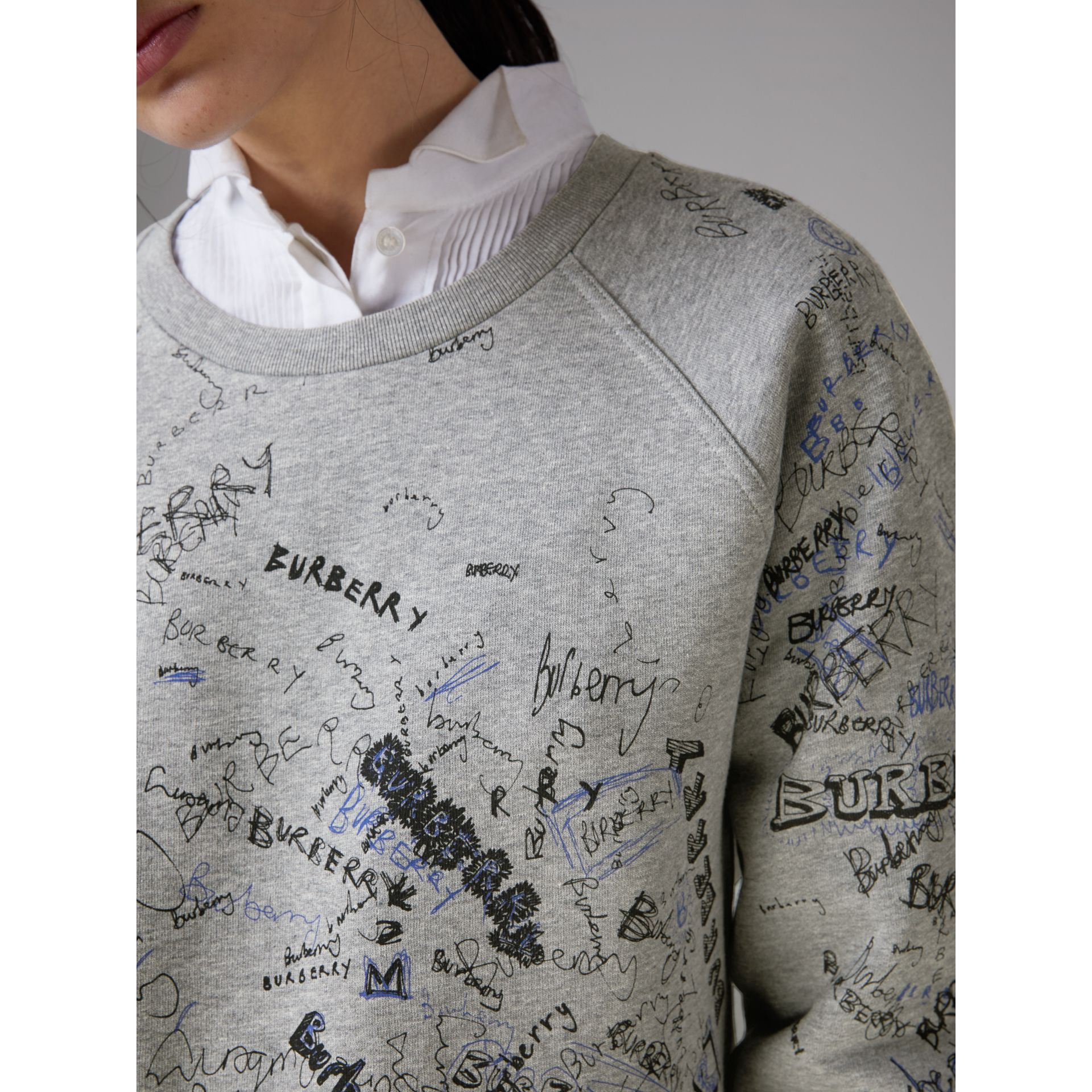 Doodle Print Cotton Blend Jersey Sweatshirt in Pale Grey Melange - Women | Burberry Australia - gallery image 1