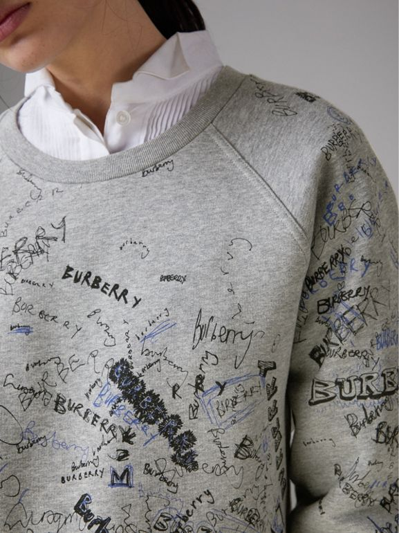 Doodle Print Cotton Blend Jersey Sweatshirt in Pale Grey Melange - Women | Burberry - cell image 1