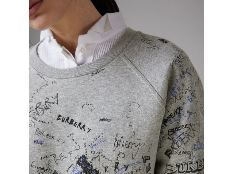 Doodle Print Cotton Blend Jersey Sweatshirt in Pale Grey Melange - Women | Burberry Australia - cell image 1