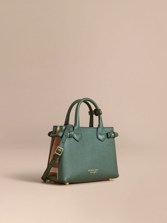 The Small Banner in Leather and House Check in Dark Bottle Green - Women | Burberry