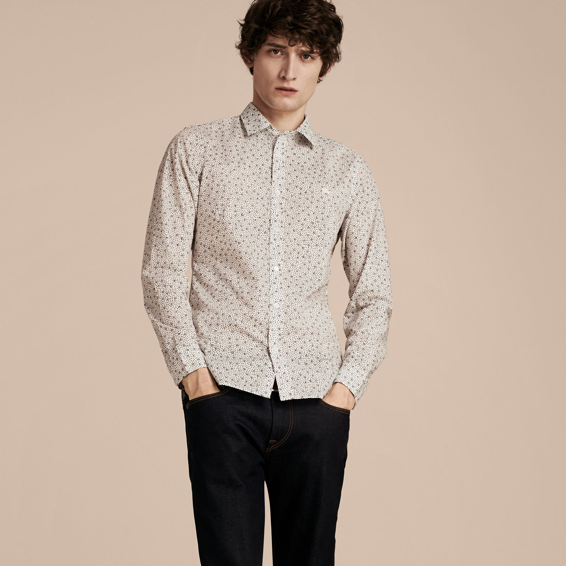 White Painterly Spot Print Cotton Shirt White - gallery image 6
