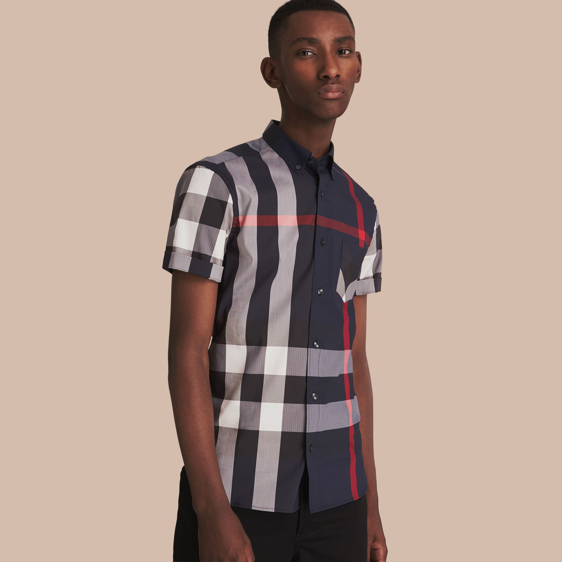 Short-sleeve Check Stretch Cotton Blend Shirt in Navy - gallery image 1