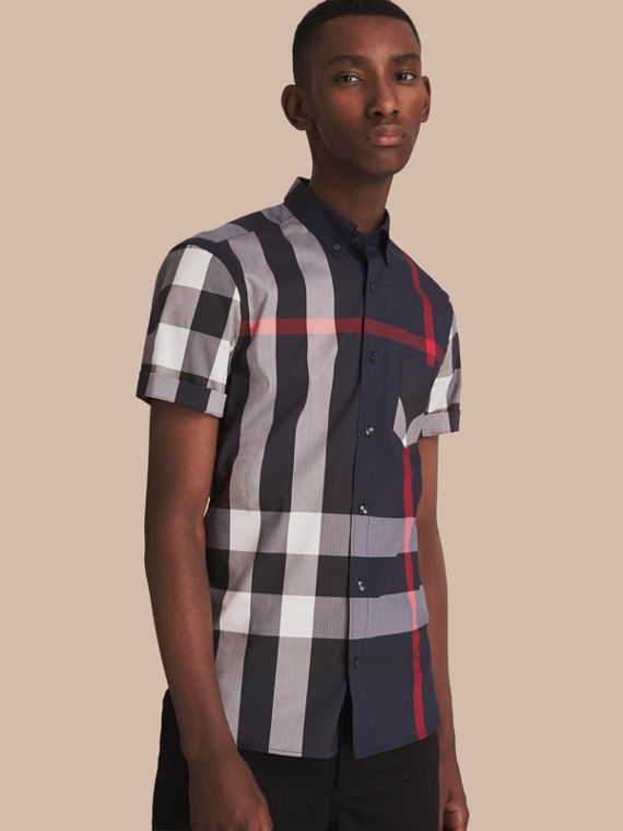 Short-sleeved Check Stretch Cotton Blend Shirt Navy