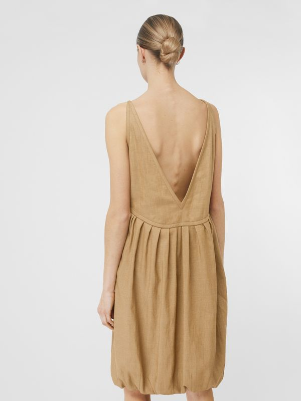 Linen Blend Bubble Hem Dress in Honey - Women | Burberry - cell image 2