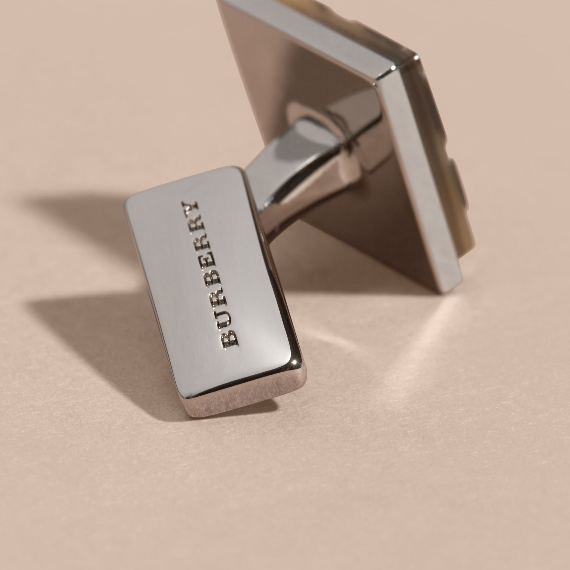 Brown Check-engraved Square Cufflinks - gallery image 3