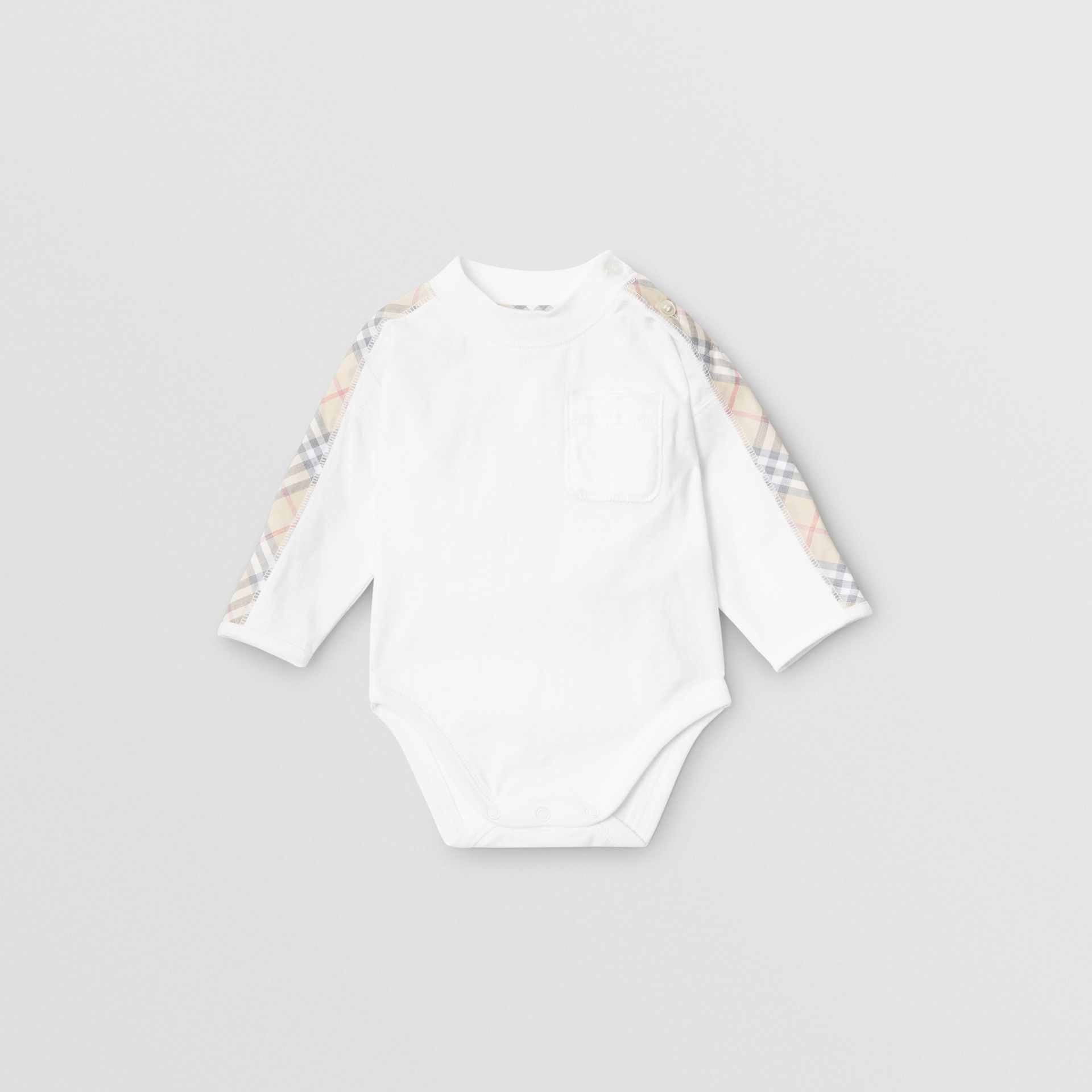 Check Detail Cotton Three-piece Baby Gift Set in White - Children | Burberry Singapore - gallery image 0