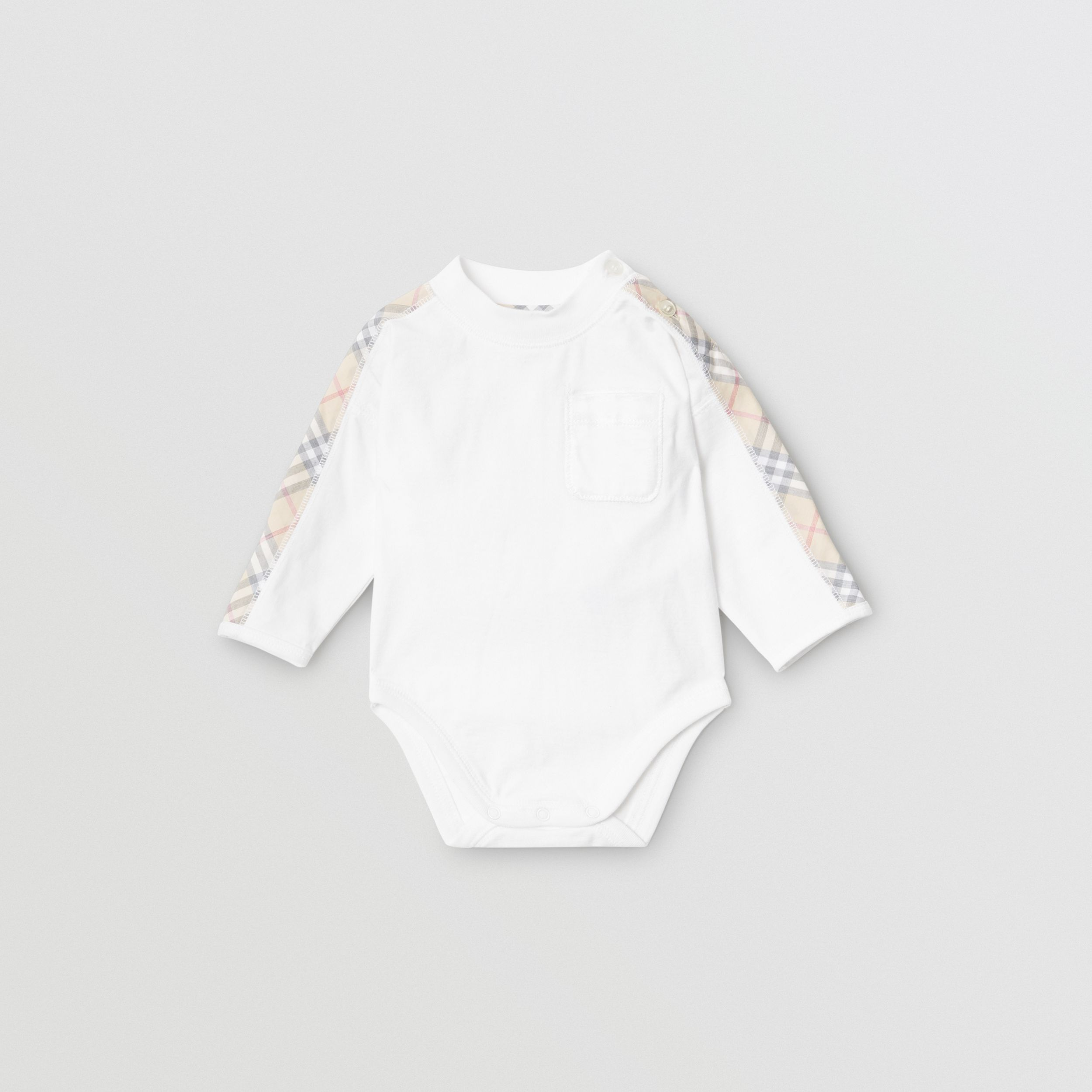 Check Detail Cotton Three-piece Baby Gift Set in White - Children | Burberry - 1