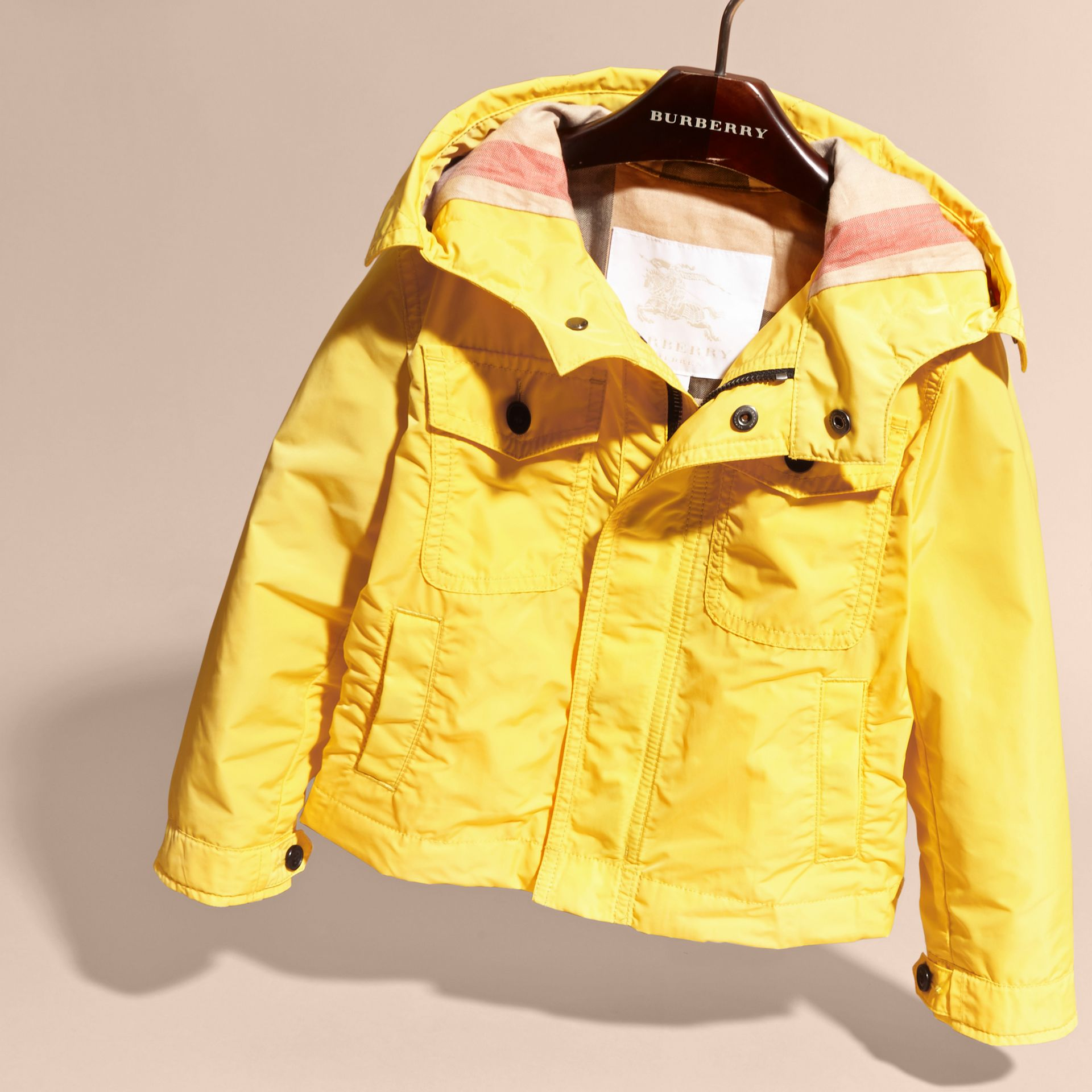 Bright yellow Hooded Packaway Technical Jacket Bright Yellow - gallery image 3