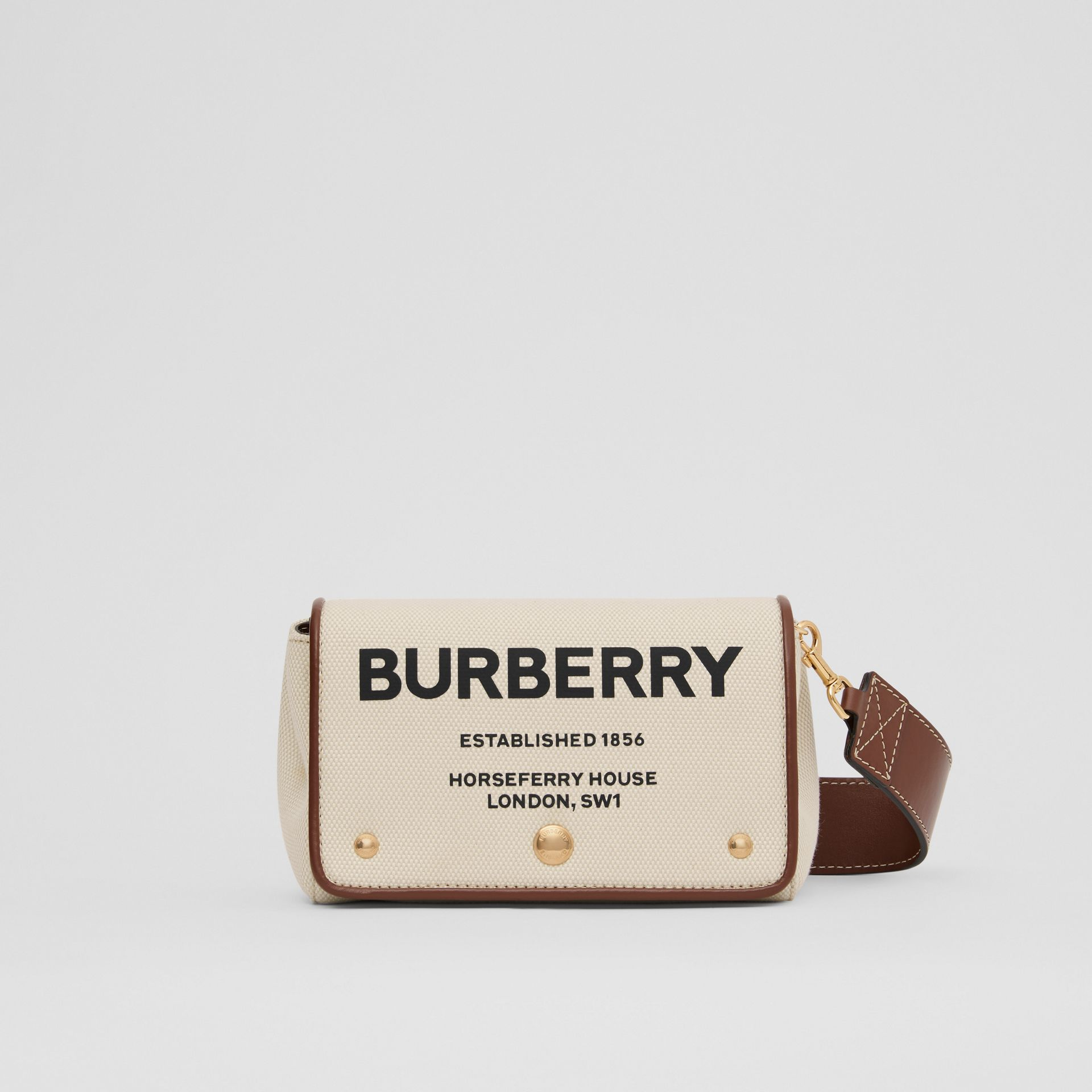 Small Horseferry Print Cotton Canvas Crossbody Bag in White/tan | Burberry - gallery image 0