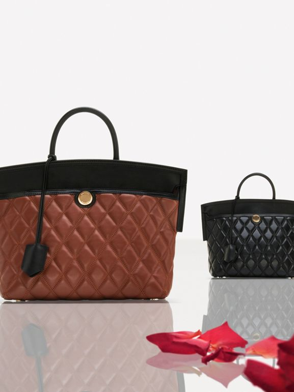 Small Quilted Lambskin Society Top Handle Bag in Black - Women | Burberry - cell image 1