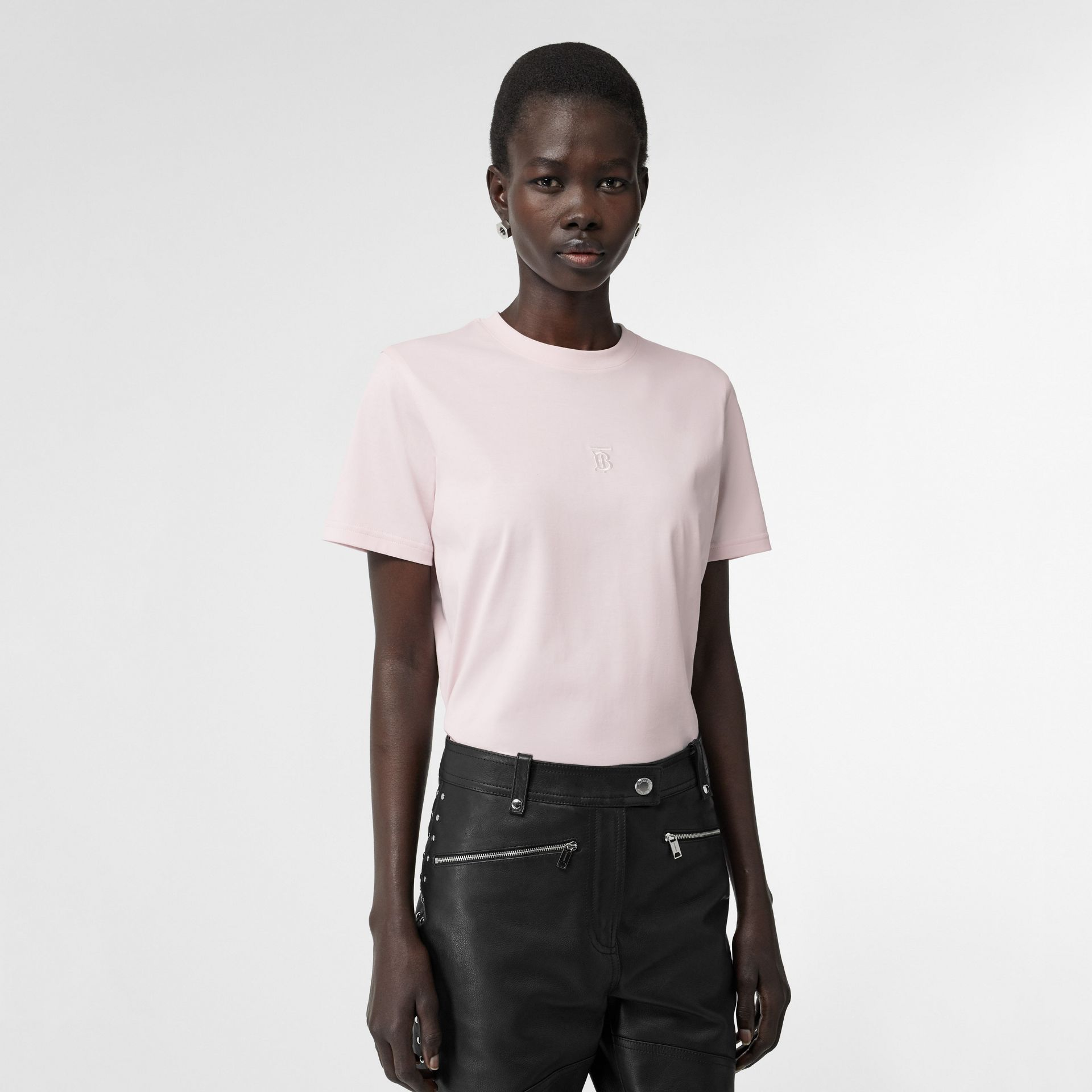 Monogram Motif Cotton T-shirt in Alabaster Pink - Women | Burberry Australia - gallery image 0