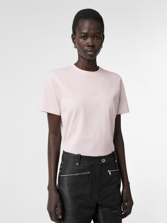 Monogram Motif Cotton T-shirt in Alabaster Pink