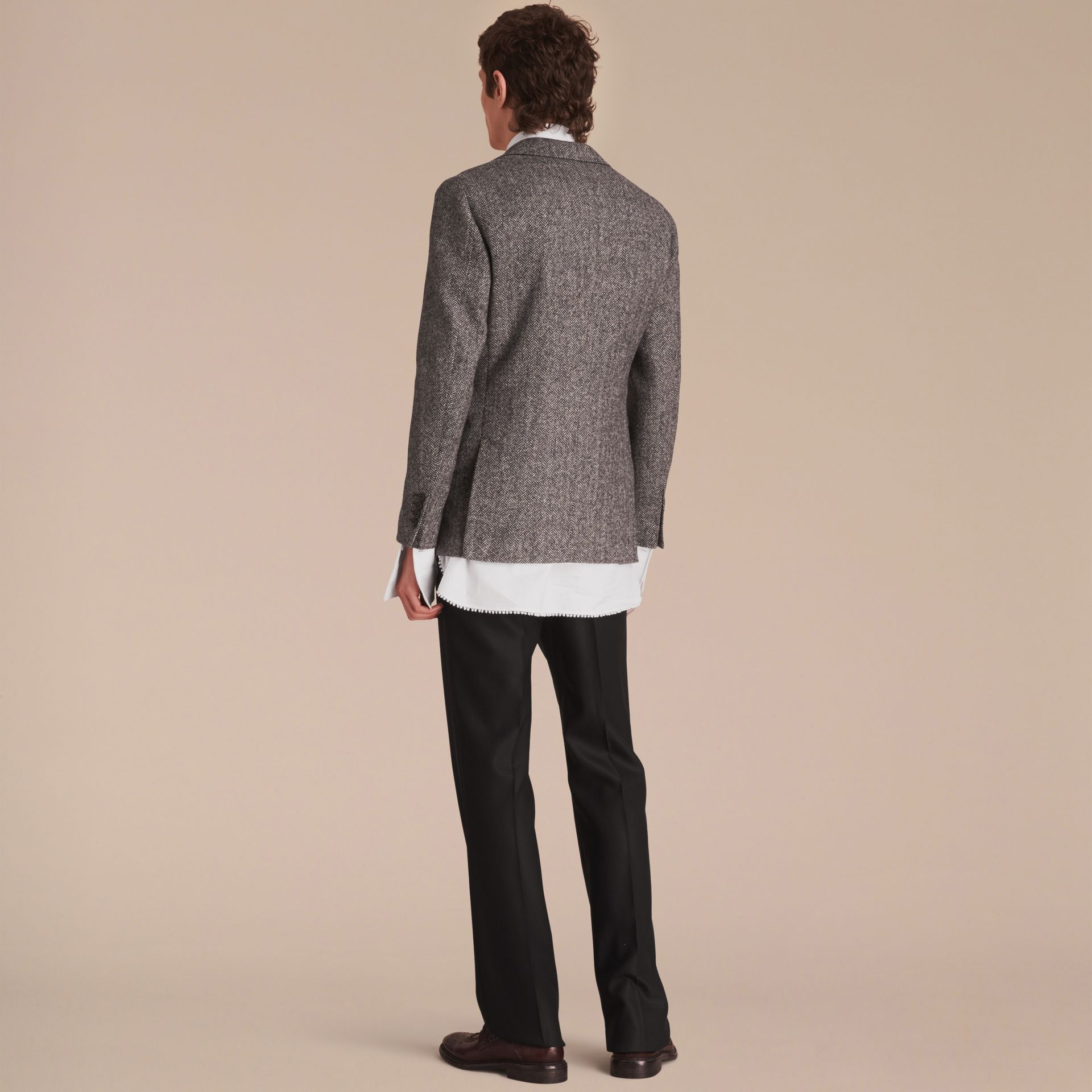 Slim Fit Herringbone Wool Tailored Jacket - gallery image 3