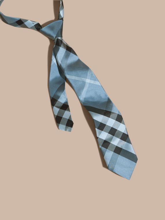 Classic Cut Check Silk Tie in Light Blue
