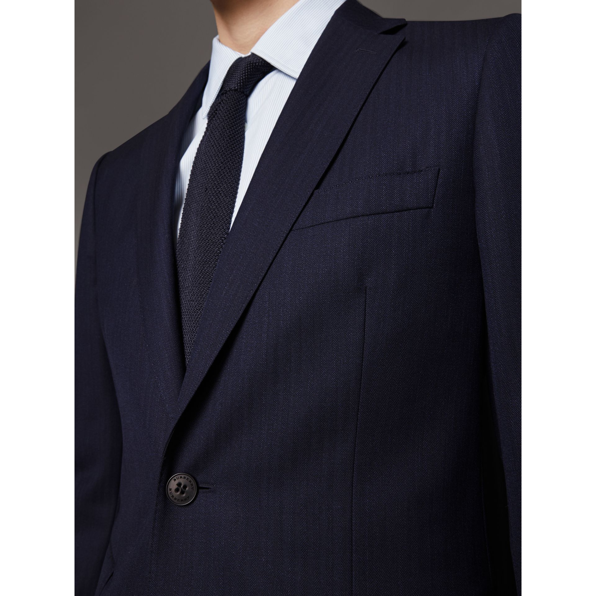 Soho Fit Herringbone Wool Suit in Navy - Men | Burberry - gallery image 1