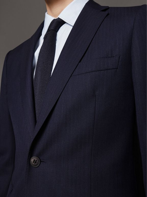 Soho Fit Herringbone Wool Suit in Navy - Men | Burberry - cell image 1