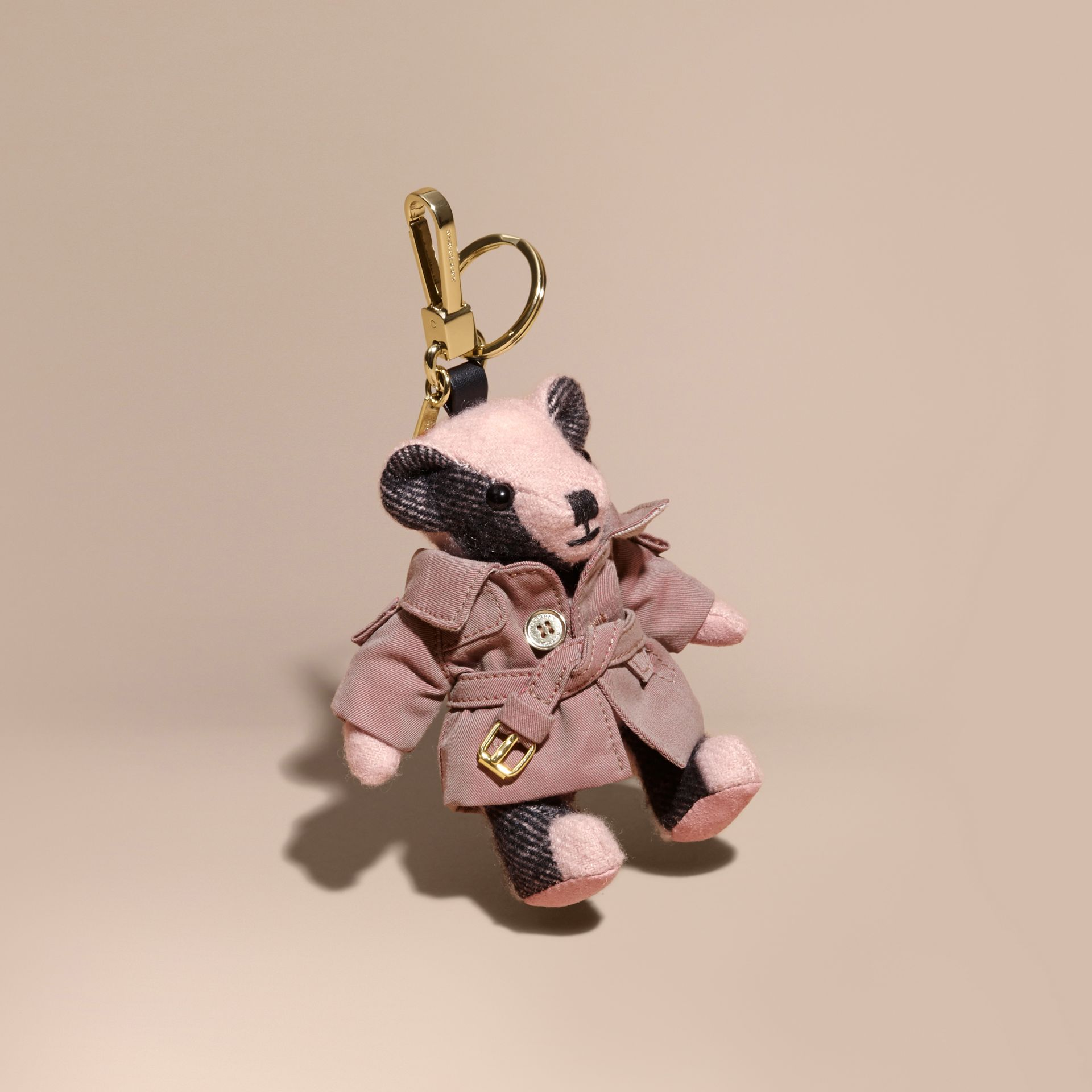 Thomas Bear Charm with Tropical Gabardine Trench Coat Ash Rose - gallery image 1
