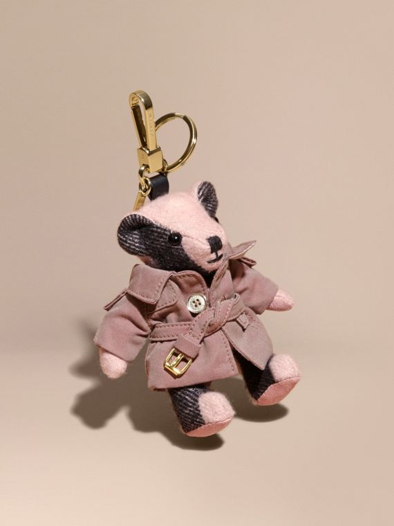 Adorno do Thomas Bear com Trench coat de gabardine tropical Rosa Bebê