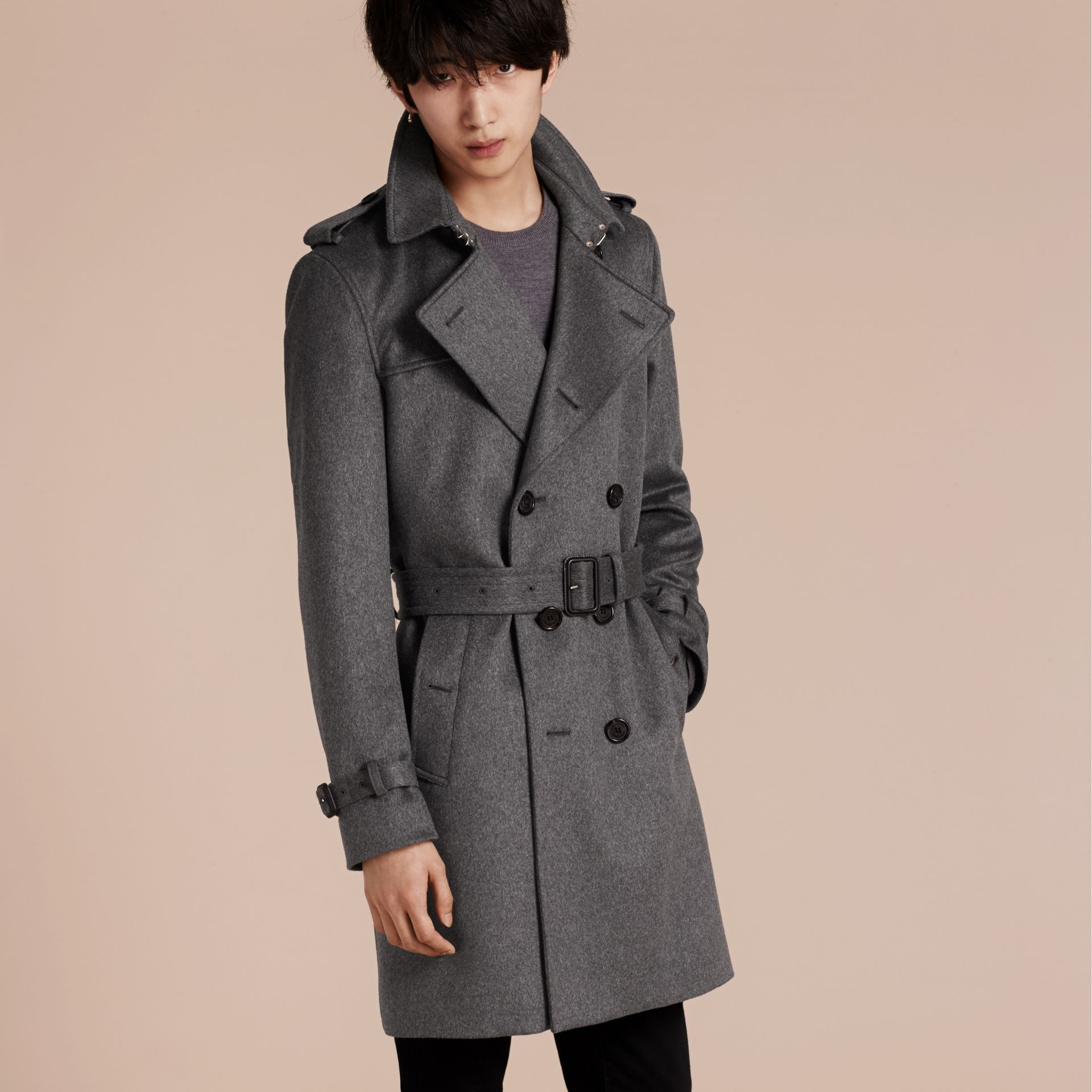 Cashmere Trench Coat Dark Grey Melange - gallery image 6