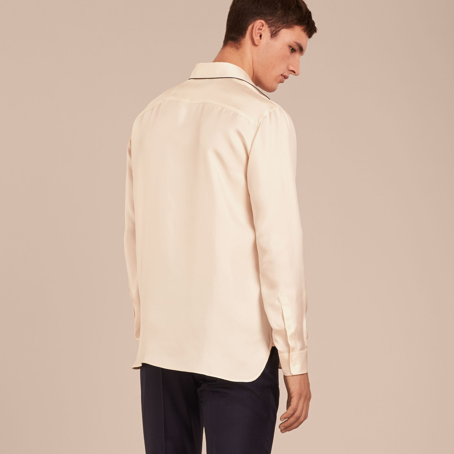 Natural white Piped Modern Fit Silk Shirt - gallery image 3