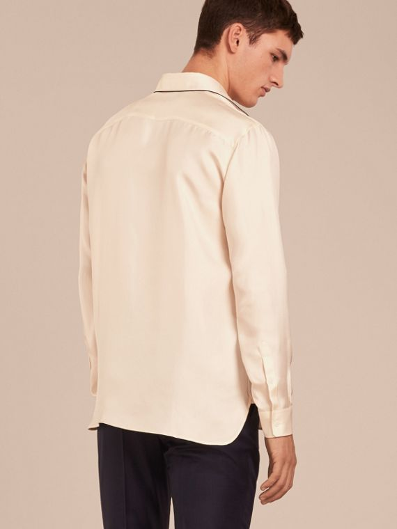 Natural white Piped Modern Fit Silk Shirt - cell image 2