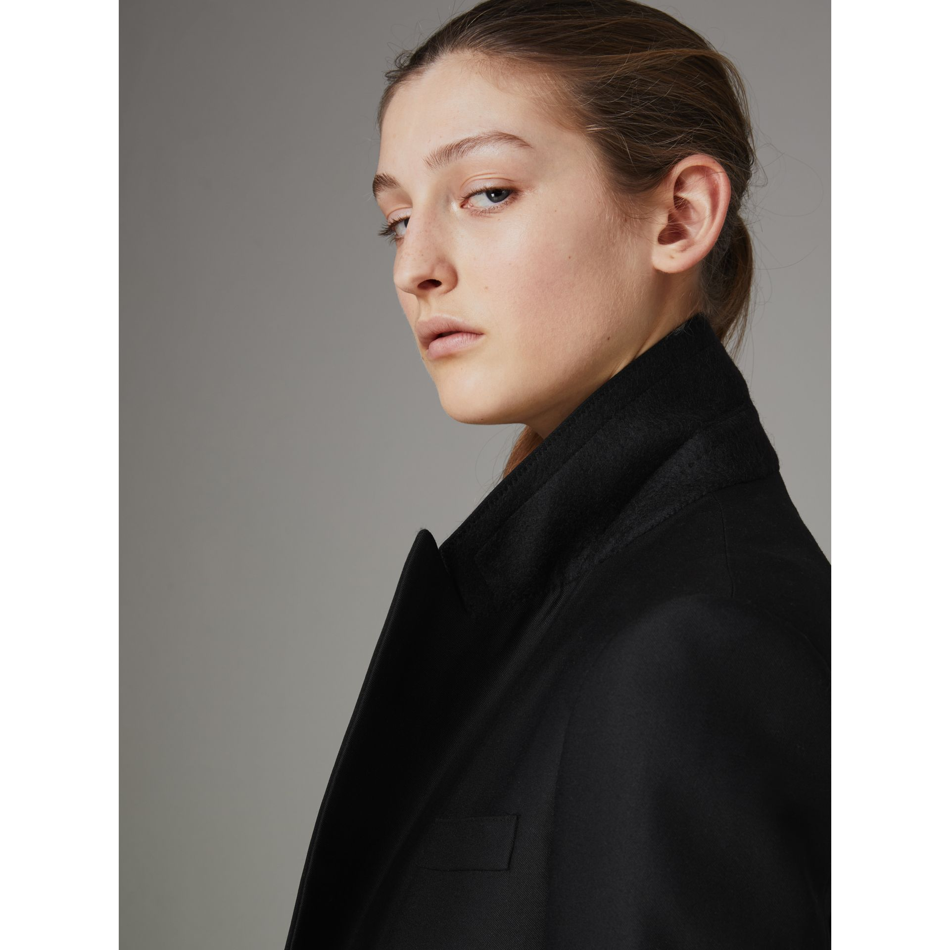 Wool Mohair Double-breasted Evening Jacket in Black - Women | Burberry - gallery image 4
