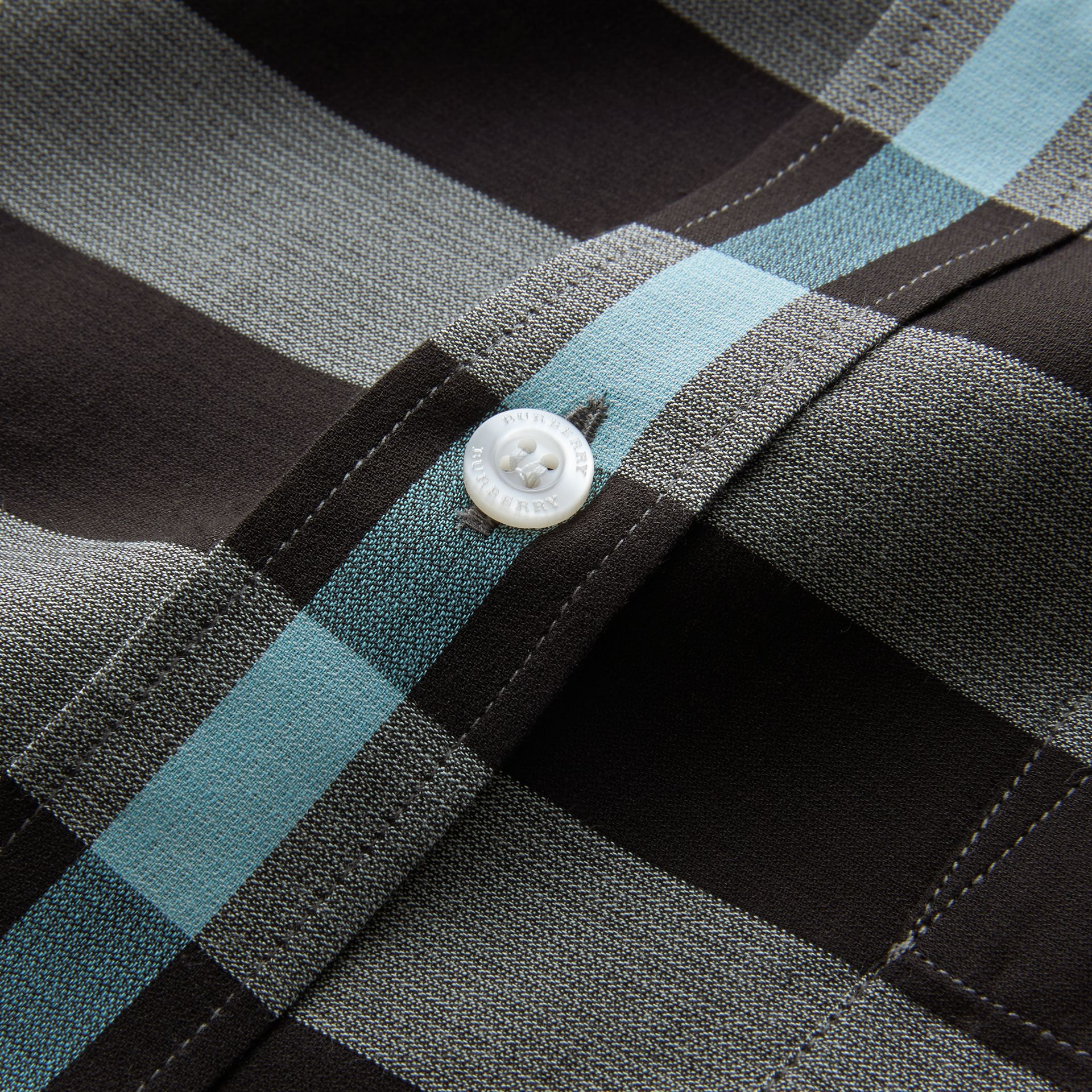 Button-down Collar Check Cotton Poplin Shirt in Mist Grey - Men | Burberry - gallery image 2