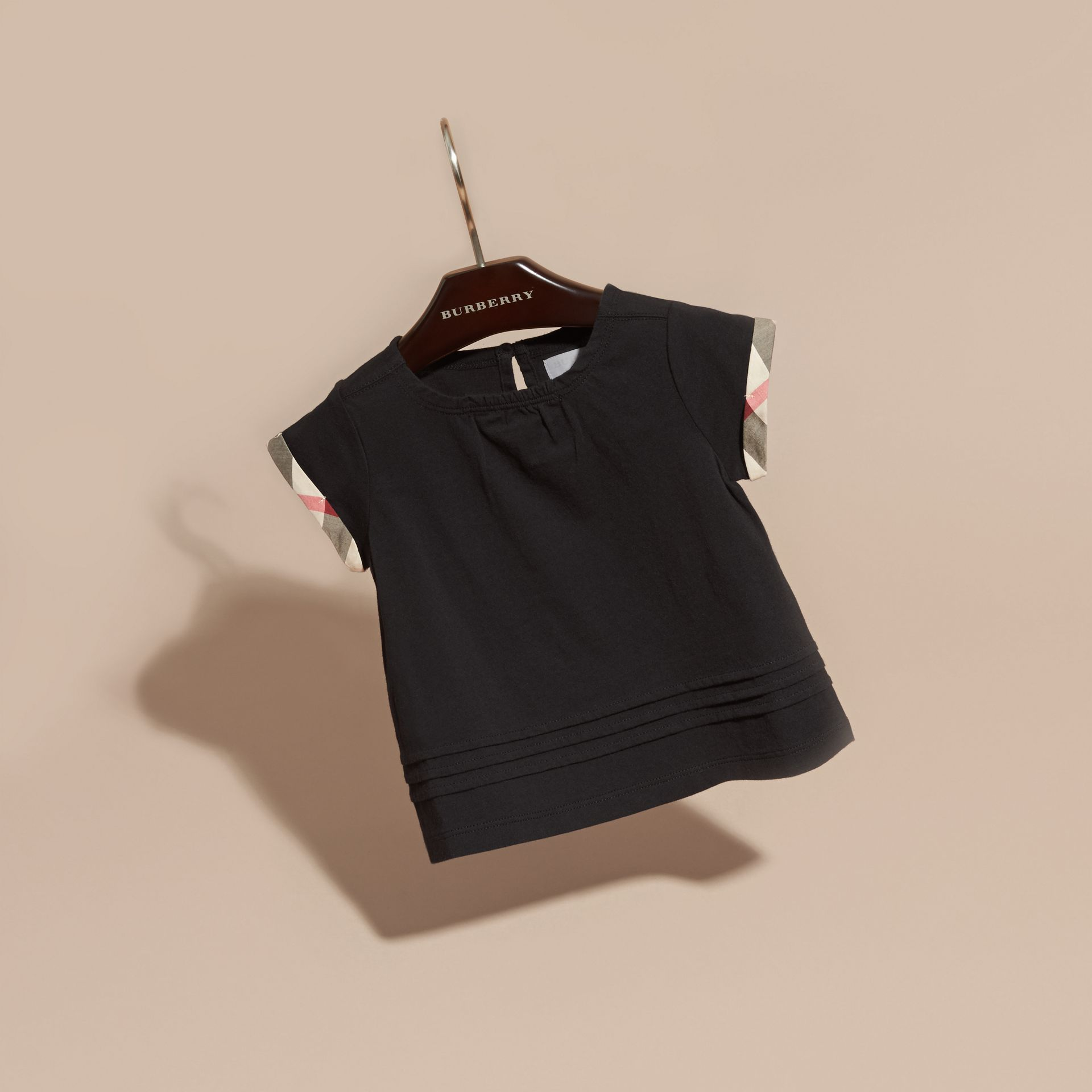 Check Trim Cotton T-shirt Black - gallery image 3