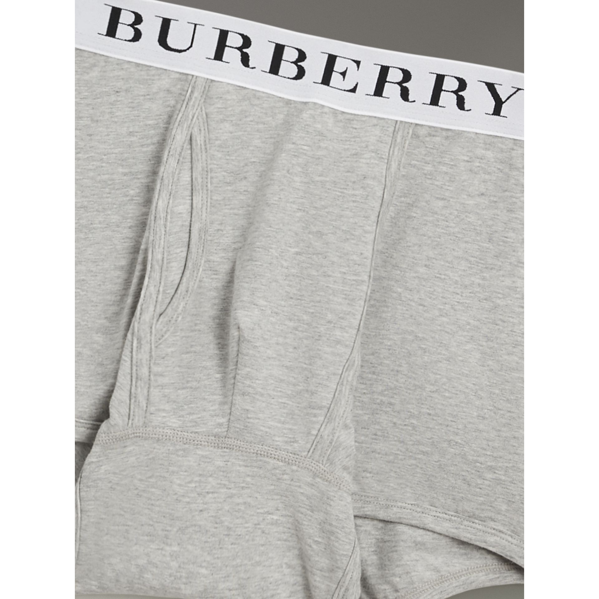 Stretch Cotton Boxer Shorts in Pale Grey Melange - Men | Burberry United States - gallery image 1