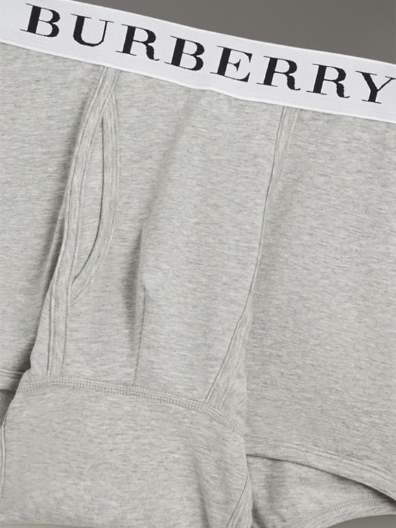 Stretch Cotton Boxer Shorts in Pale Grey Melange - Men | Burberry Canada - cell image 1