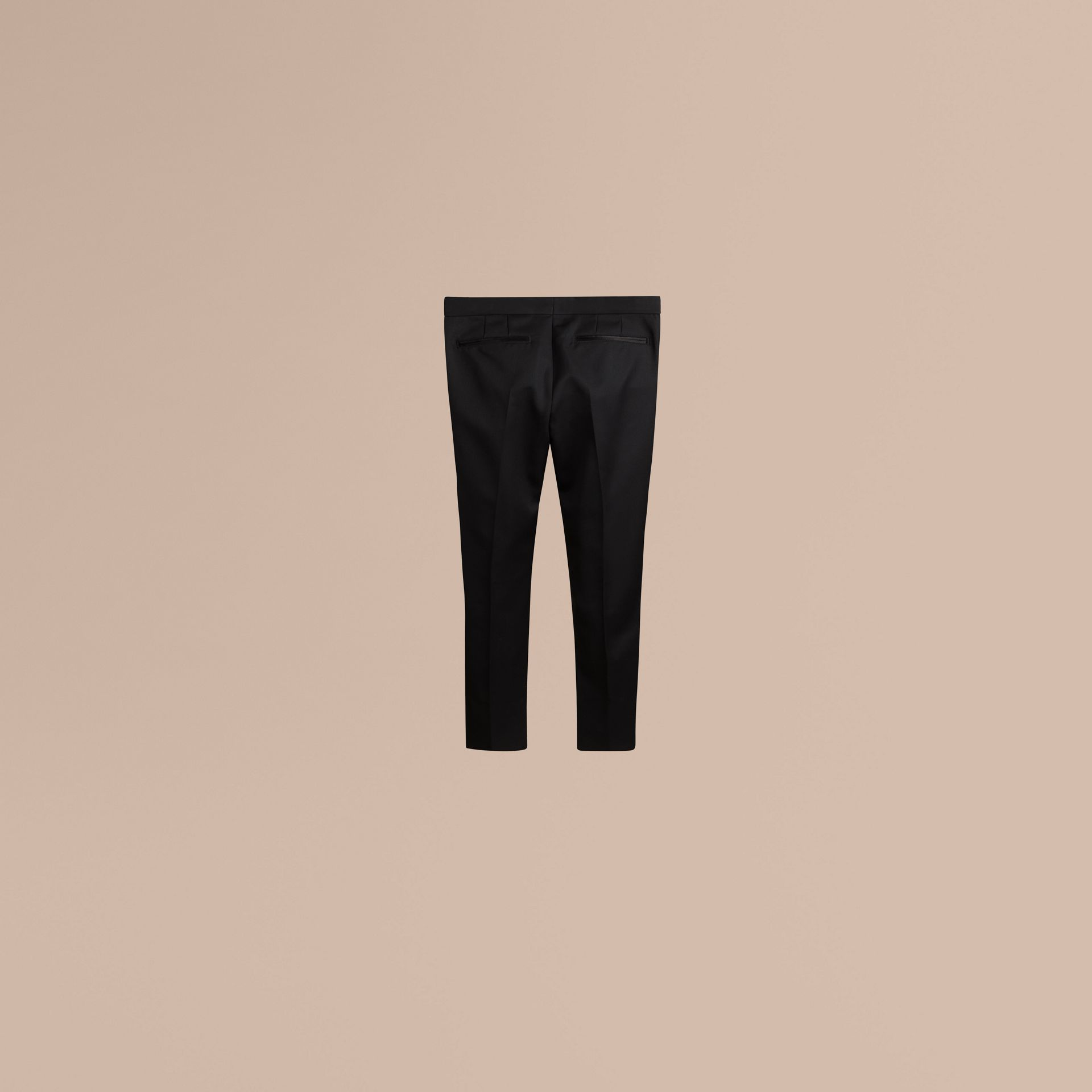 Black Tailored Wool Tuxedo Trousers - gallery image 2