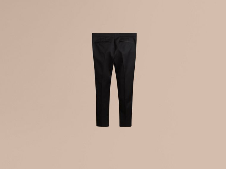 Black Tailored Wool Tuxedo Trousers - cell image 1